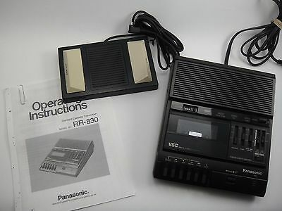 Panasonic RR-830 Standard Cassette Medical Dictation Recorder +Foot Pedal TESTED