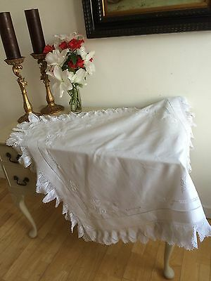Italian Linen Tablecloth Hand Crochet Lace Padded Embroidery Antique Pristine