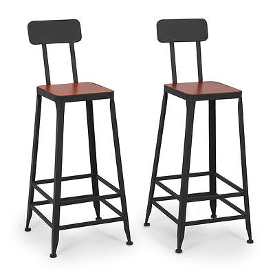 Industrial Bar Stools Barstools Wood Counter Top Height Wood Seat (Set of 2)