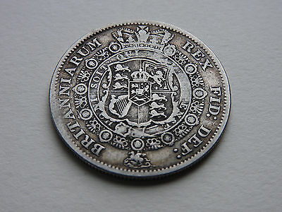 George 111 1817 SILVER BULLHEAD HALF-CROWN great detail great condition