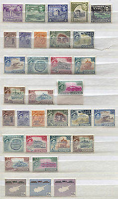 Cyprus Set of 32 mint MNH stamps issued 1938-60 - FREE UK POSTAGE