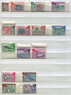 Dominica Set of 15 mint MNH Queen Elizabeth II stamps issued 1951-7 FREE UK POST