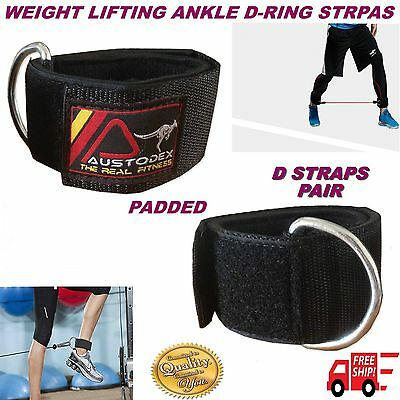 Austodex Weight Lifting D-Ring Pulley Cable Ankle Attachment Gym Leg Strap
