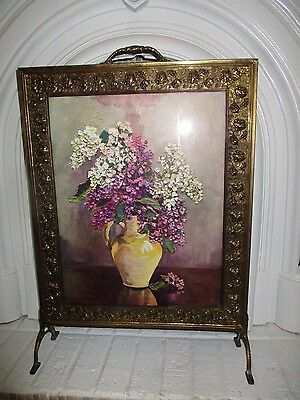 ANTIQUE gold filigree framed HYDRANGEA picture screen fire place screen glass