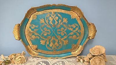 "VINTAGE PAPER MACHE TRAY MADE IN ITALY 17.5"" x 11.5"""