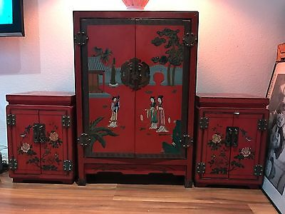 Beautifully  decorated Chinese red lacquer cabinet set