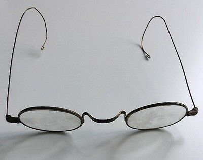 Vintage Original c.1920 Round Spectacles Metal Brass Frame Wire Arms Lennon