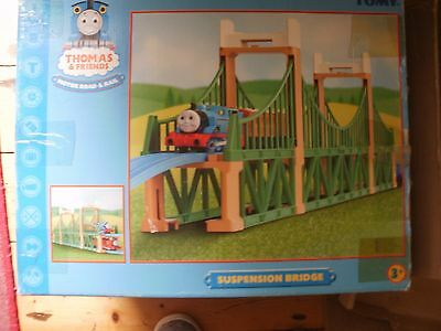 Tomy Trackmaster Thomas And Friends Green Suspension Bridge With Blue Track Vgc