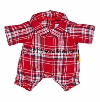 Build-a-Bear Buddies Smallfrys Mini Boy / Girl Red Plaid PJ's Pajamas Romper NWT
