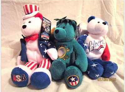Limited Treasures Bear Collection - Hometown Heroes, Liberty, Sam, Statue Coin