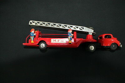 vintage metal tin tin plate toy 1950 Aerial Ladder Fire Engine Truck Japan