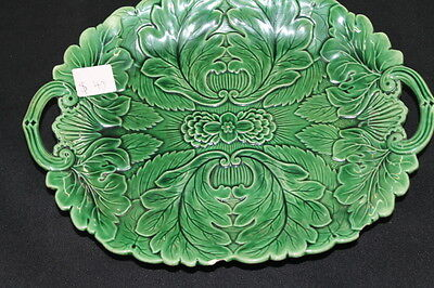 vintage green leaf French majolica oblong plate tray tab handles