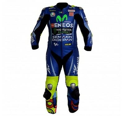 YAMAHA MONSTER Rossi VR46 MOTORBIKE RACING COWHIDE LEATHER ONE PIECE SUIT(Rep)HB
