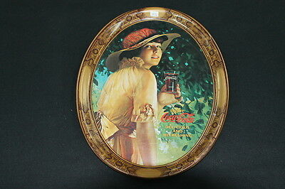 vintage oval metal Coke Coca Cola advertising tray lady yellow dress hat