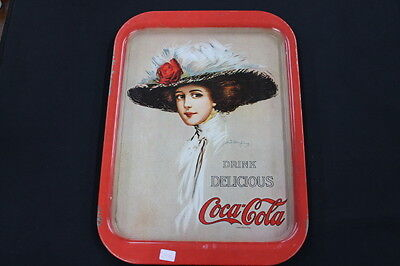 vintage metal Coke Coca Cola advertising tray Lady large hat red rose