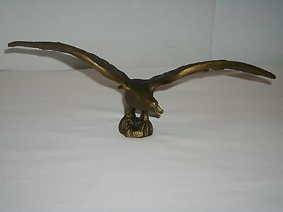 """Vintage Solid Brass American Eagle Statue ~ 13"""" Wing Span ~ Weighs 3 ¼ lbs"""