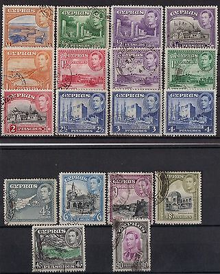 Cyprus King George VI 1938 Onwards Fine Used Part Set 1/4pi-90pi.  SG151-162.