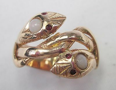 Vintage 14ct Gold Snake Double Serpent Head with Opal and Rubies Ring Size P