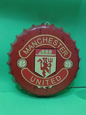 Chapa Decorativa 34 cm Manchester United Utd Veneer Placa Pared Wall Metal