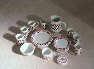 Coca-Cola Checker-Board Dinnerware Plates, Mugs, Pitcher, Bowl, Coasters 22 Pcs""