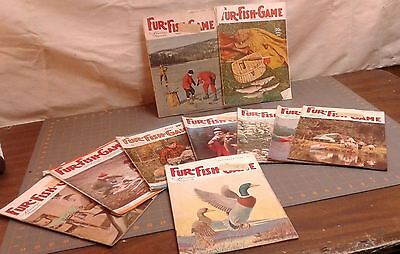 Lot of 10 FUR-FISH-GAME MAGAZINE 1940 to 1964 FISHING HUNTING TRAPPING VTG ADS