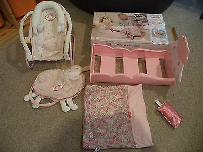 Baby Annabell bundle: Sheep Lullaby Pink Bed, bouncing chair and changing bag