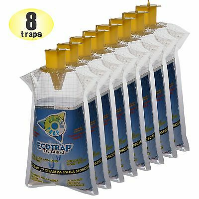8 Ecotrap Guard JUMBO Disposable Non toxic Fly Traps Bags Catchers Killer Zapper
