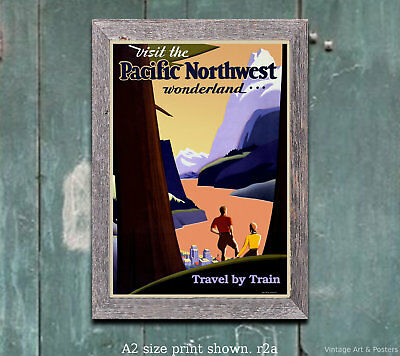 Travel by Train #2 Pacific NW Railroad Travel Poster [4 sizes matte+glossy avail