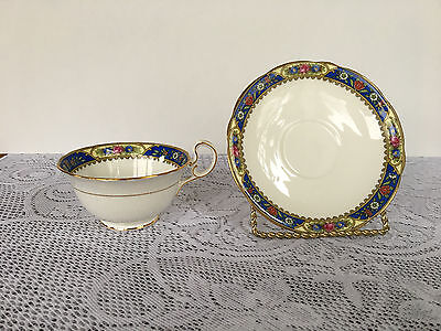 Aynsley # 2527 Blue Floral Bank Tea Cup & Matching Saucer (973)