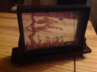 "A Chinese cork diorama in glass frame and on stand,8"" x 5"""