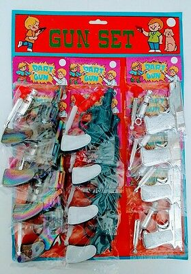 12 Vintage TOY DART GUNS TOYS on Old Store Display Card Rubber Suction 1980s
