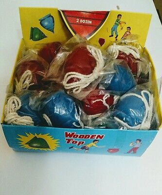 24 Vintage TOY WOOD SPINNING TOPS in Old Bags & in Original Store Display Box.