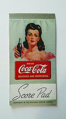 Vintage 1940's Coca Cola Score Pad Unused, Lady With Bottle,& 2 other Coke items
