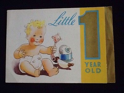 Vintage 1940s English BIRTHDAY Greetings CARD Baby With Rattle 1 Year Old