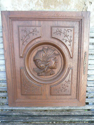 French Antique Gothic Carved Wood Wall Panel // door oak-Soldier  Antiquity N°1