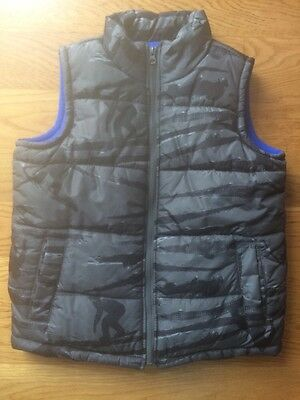 OLD NAVY Kids Boys Gray Puffer Snowboarding Fleece Blue Vest Size Medium Warm