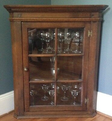 Beautiful Antique Glass-Front Hanging Corner Cabinet