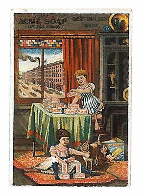 ACME SOAP Victorian Trade Card - Children & Cat Playing
