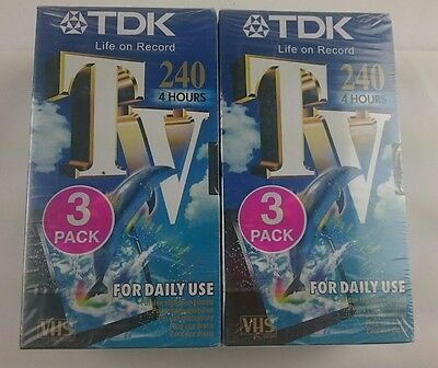6 Tdk Sealed New Vhs Tapes Tv 240 Video Blank