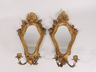 Antique Vtg Pair Provincial Carved Wood Gilt Mirror Candle Sconces Holders Italy