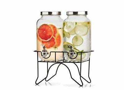 Drink Dispenser Dual Two Bottles 3.5L Stand Beverages Cold Drinks Glass Jars Tap