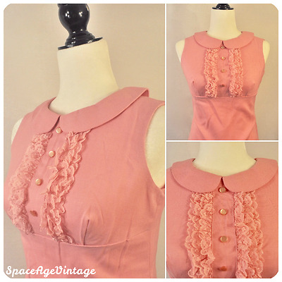 Vintage 60s Mod Pan Collar Lace Ruffle Button Pink Dress Small