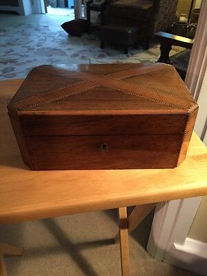 Antique Lidded Wooden Jewelry Box