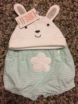 Just One You Carter's Baby 0-3 Months Bunny Hat And Shorts Set NWT
