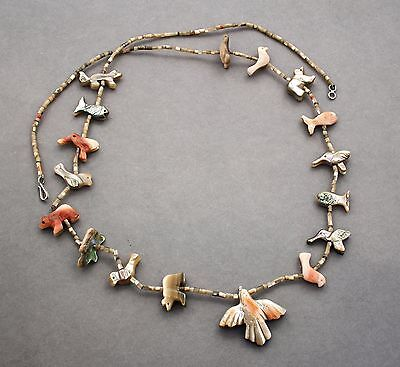 Native American abalone mother-of-pearl shell animal necklace hand carved
