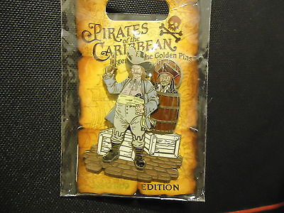 Disney Dlr Pirates Of The Caribbean Jack Sparrow In Barrel Pin On Card Le 1250