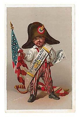 LAUTZ BROS. & CO. SOAPS Victorian Trade Card - Patriotic Boy with Flag
