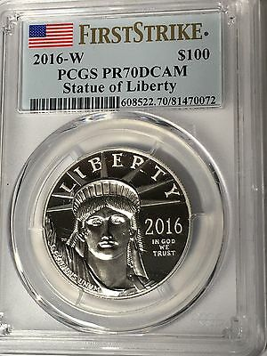 "2016-W  Statue Of Liberty $100 Platinum Coin Pcgs Pr70Dcam  ""first Strike"" Label"