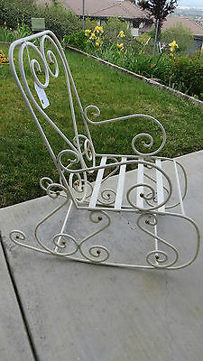 Darling Vintage Style Quality White Iron & Brass Child's HEART Rocking Chair