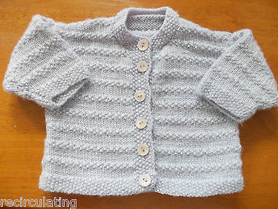 Newborn 000-00 Baby Girl or Boy Woolen Cardigan Hand Knitted Light Grey VGC